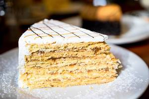 Nicely garnished piece of Chilean Cake