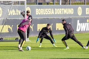 Nico Schulz, Paco Alcácer und Roman Bürki im Einsatz beim BVB Training