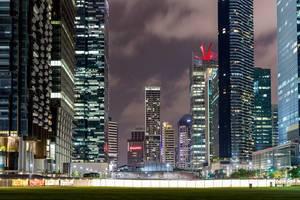 Night Capture of Skyscraper in Singapore
