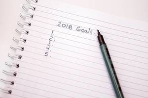 Notebook with a pen and new year resolutions