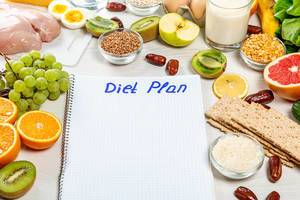"Notebook with the inscription ""diet plan"" and ingredients around"