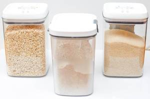 Oatmeal, Flour and Sugar Glass Containers