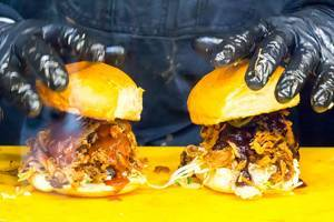 Obamarama Burger: Pulled Pork BBQ and Coleslaw and Jalapenos