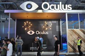 Oculus fair stand and passing visitors
