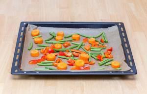 Ofengemüse mit Möhren, Paprika und Bohnen