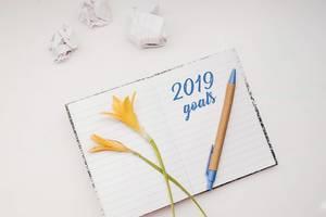 Offenes Notizbuch mit der Inschrift - 2019 Ziele - mit Stift und zerknülltem Papier