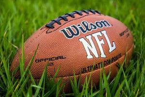 Offizieller Spielball für American Football mit Schriftzug NFL liegt im Gras