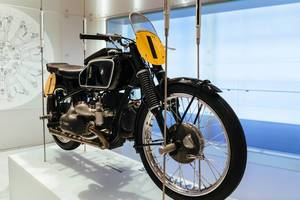 Old BMW motorcycle on display in BMW Museum