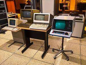 Old computer at technical museum in Brno