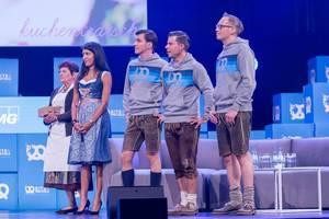 Oma Anni, Leila Janah, Andreas Bruckschlögl, Felix Haas und Dr. Bernd Storm van´s Gravesande bei der Eröffnung des Bits & Pretzels 2018