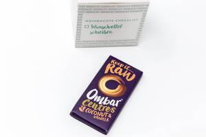 Ombar Centres - dunkle Bio-Schokolade mit Kokosnuss und Vanilie Cremefüllung aus den achten Türchen des veganen Foodist Active Adventskalender