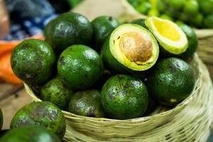 Open avocado in a basket