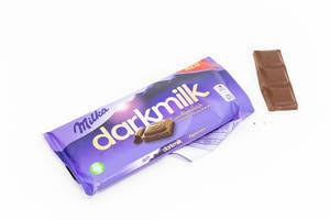 "Open chocolate bar packaging of ""Milka darkmilk"" made of alpine milk, on a white table"