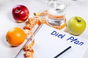 """Orange, Apfel, Wasserglas und ein Maßband, neben einem Schreibblock mit der Aufschrift """"Diet Plan"""" Ernährungsplan / Diätplan"""