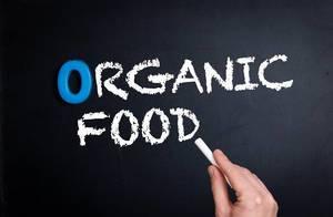 Organic food text on blackboard