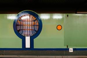 Ornament in Siemensdamm subway (U-Bahn) station in Berlin