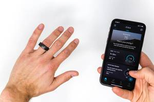 Oura smart ring and Oura mobile application with energy and activity analysis