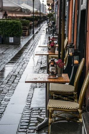 Outdoor cafe during rain in Copenhagen