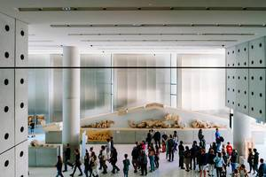Overlook of the interior of Bernard Tschumi Acropolis Museum (Flip 2019)