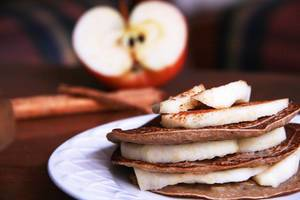 Pancake Stack with Apples and Cinnamon