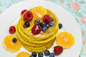 Pancakes with fruit and maple syrup  Flip 2019
