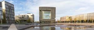 Panorama Blick auf das Herz der Stadt in Essen: Thyssenkrupp Hauptgebäude