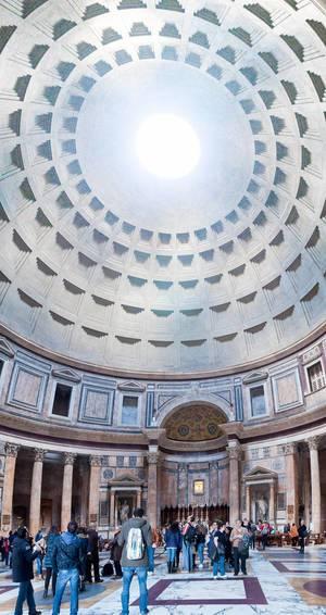 Panorama im Inneren des Pantheon in Rom, Italien