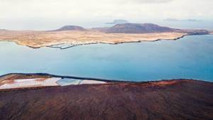 Panorama of La Graciosa Island in the ocean