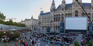 Panorama shot of Vienna Rathausplatz during 28. Film Festival