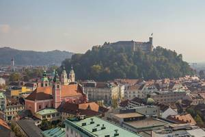 Panoramic view on old town and city center in Ljubljana, Sloveni