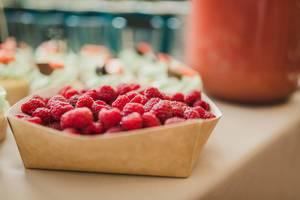 Paper Box Full With Fresh And Tasty Raspberries (Flip 2019)