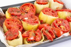Paprika stuffed with Minced Meat in baking tray