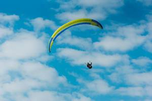 Paraglider with beautiful sky in behind
