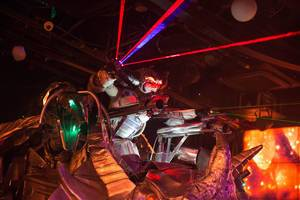 Part of the routine with lasers at the Robot Restaurant in Shinjuku, Tokyo