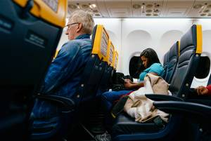 Passenger on board Ryanair airplane