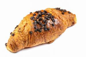 Pastry Croisant with Chocolate Crumbs above white background (Flip 2019)