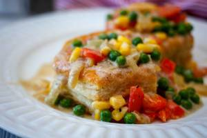 Pastry Pie  With Peas, Corn and Pepper Close-Up