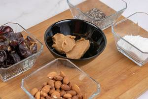 Peanut butter Almonds Coconut Chia Seeds and Dates
