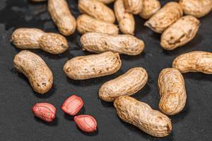 Peanuts raw in shell and peeled peanut kernels