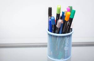 Pencils in a Blue Holder