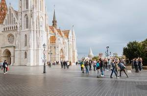 People in for or St. Matthias Church in Budapest