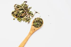 Peppemint loose leaf tea on a wooden spoon on white background