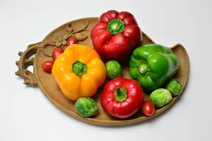 Peppers, brussels sprouts and cherry tomatoes