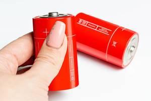 Person hält eine rote Typ-D Mono Batterie vor weißem Hintergrund