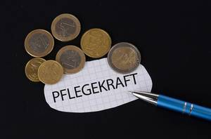 Pflegekraft text on piece of paper
