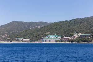 Photo of St. Panteleimon Monastery taken from a tour ship