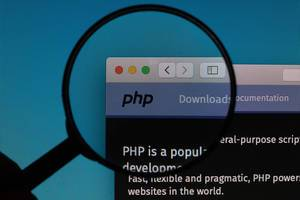 PHP website under magnifying glass