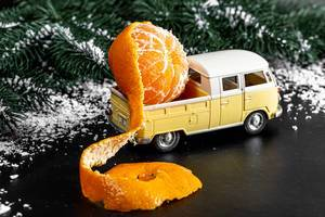 Pickup truck with tangerine in the back on a snowy background