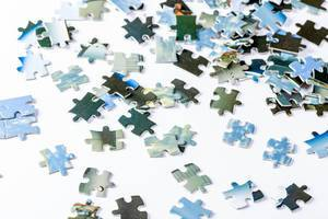 Pieces of a puzzle on white background