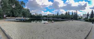 Pioniersky prud pond with a beach in Moscow